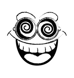 Funny face glasses vector