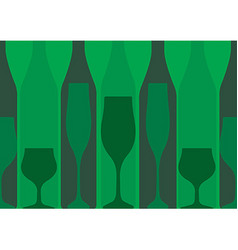 Green background with bottles of alcohol vector
