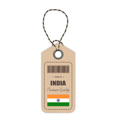 hang tag made in india with flag icon isolated on vector image