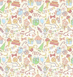 Happy birthday party seamless colored pattern vector