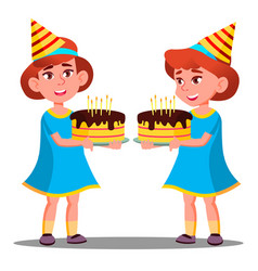 happy little girl in party cap holds a birthday vector image