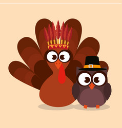 happy thanks giving card with turkey vector image