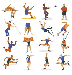 High jump athlete sport men athletics characters vector