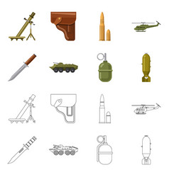 Isolated object of weapon and gun sign set of vector
