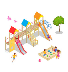 isometric kids boys and girls are playing on the vector image