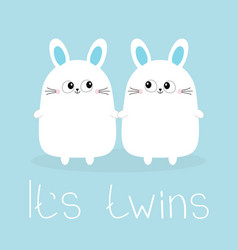 its twins two boys cute twin bunny rabbit set vector image