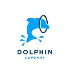 Jumping dolphin logo design vector