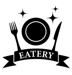 kitchen ware on black eatery symbol vector image