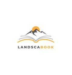 landscape book logo design template vector image