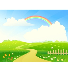 Landscape with rainbow vector