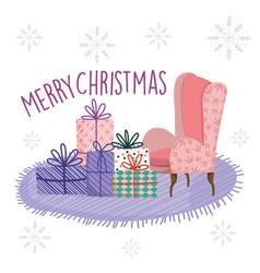 Merry christmas celebration living room sofa vector