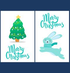 merry christmas rabbit tree vector image