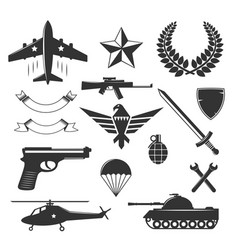 Military emblem elements collection vector