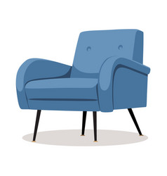 modern blue soft armchair with upholstery vector image