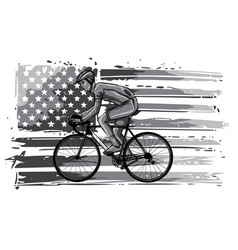 monochromatic silhouette a cyclist male in race vector image