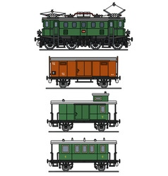 Old electric train vector