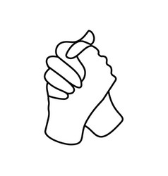 one line drawing two gripping hand each other vector image