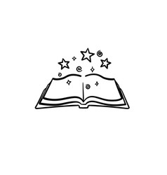 open magic book with stars hand drawn sketch icon vector image