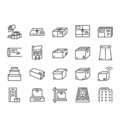 parcel line icon set vector image