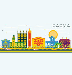 Parma skyline with color buildings and blue sky vector
