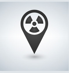 pinpoint of nuclear zone icon in trendy flat vector image