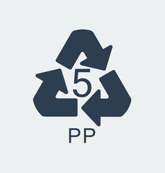 Plastic recycling symbol pp 5wrapping plastic vector