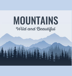 Poster with mountains scenic landscape with vector