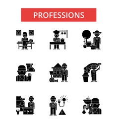 Professions thin line icons linear vector