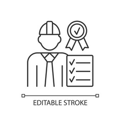 Quality control manager rgb linear icon vector