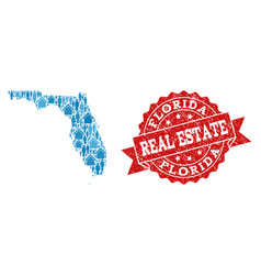 Real estate composition of mosaic map of florida vector
