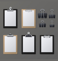 realistic clipboards with blank white paper sheet vector image