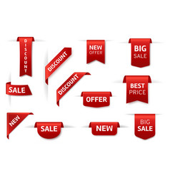 red labels ribbon realistic stickers new vector image