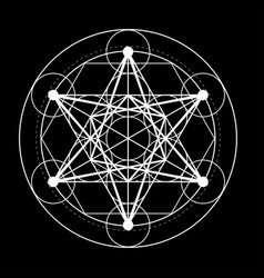 Sacred geometry symbol metatrons cube on black vector