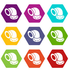 Semicircular pipe icons set 9 vector