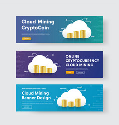 set of banners with stacks of coins and a cloud vector image