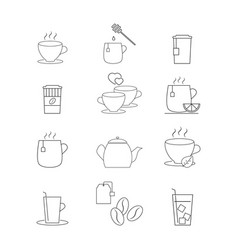 Set of drink coffee or tea icons vector