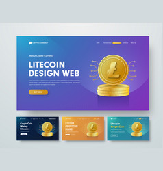 set of web banner templates with gold stacks of vector image