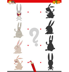 shadow game with cute rabbit characters vector image