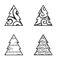 Simple Black Christmas Tree Icon Set vector