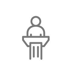 simple man in pulpit line icon public speaking vector image