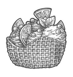 sketch ice cream scoops in wafer sticks dessert vector image