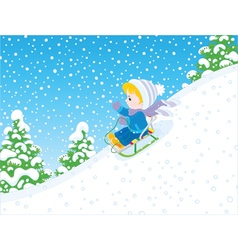 Small child sleighing vector