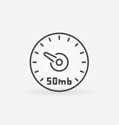 Speed test linear icon 50 mb internet vector