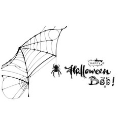 Spider web and text happy halloween boo greeting vector