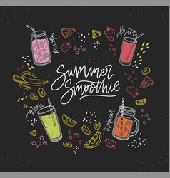 Summer smoothie handwritten inscription surrounded vector