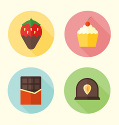 sweets confection round icons with long shadow vector image