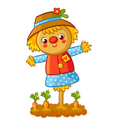 The scarecrow is standing in a garden vector