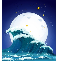 The waves and the moon vector image