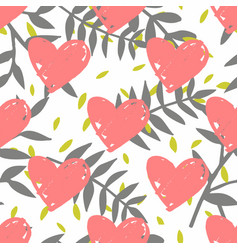 Tile tropical pattern with exotic leaves and pink vector