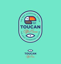 Toucan logo coffee beans label emblem vector